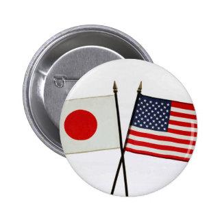JAPAN AMERICAN FLAG PINBACK BUTTON