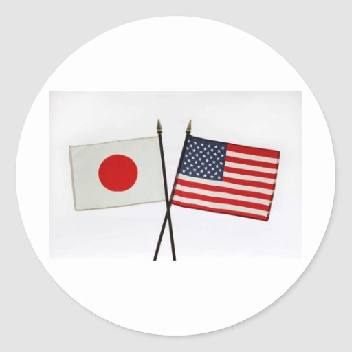 JAPAN AMERICAN FLAG STICKER