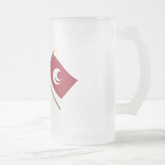 Japan and Hiroshima Crossed Flags 16 Oz Frosted Glass Beer Mug