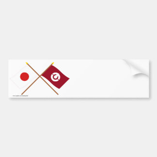Japan and Kochi Crossed Flags Bumper Stickers