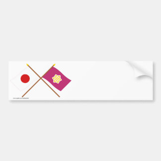 Japan and Kyoto Crossed Flags Bumper Sticker