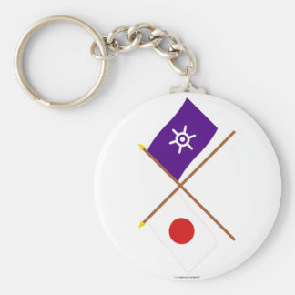 Japan and Tokyo Crossed Flags Basic Round Button Keychain