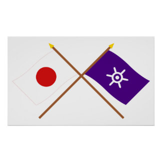 Japan and Tokyo Crossed Flags Poster