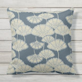 Japan. Blue Floral Flowers. Outdoor Pillow