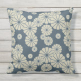 Japan. Blue Floral Flowers. Throw Pillow