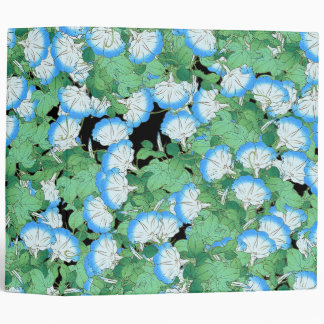 Japan Blue Morning Glory Flowers Floral Garden 3 Ring Binder