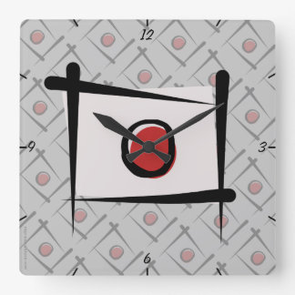 Japan Brush Flag Square Wallclock