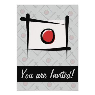 Japan Brush Flag 5x7 Paper Invitation Card