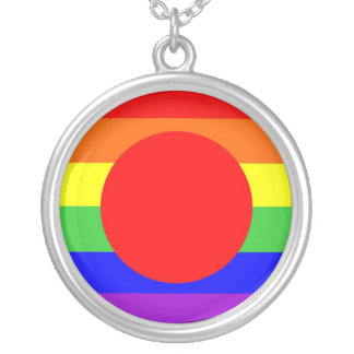 japan country gay proud rainbow flag homosexual round pendant necklace