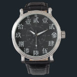 """Japan difficult old kanji style [black face] wrist watch<br><div class=""""desc"""">It is a dial of an old Chinese numeral.  昔の漢数字の時計です。</div>"""
