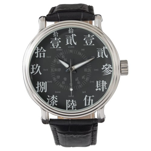 Japan difficult old kanji style [black face] wrist watch