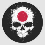 Japan Dripping Splatter Skull Round Sticker