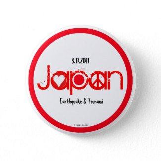 Japan Earthquake 2011 Button Love Peace Hope button