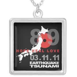 Japan Earthquake 8.9 Square Pendant Necklace