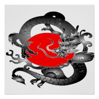 Japan Flag Fire Dragon Remix Posters