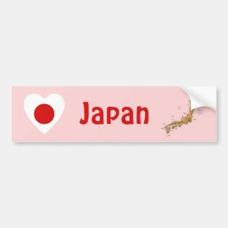 Japan Flag Heart + Map Bumper Sticker
