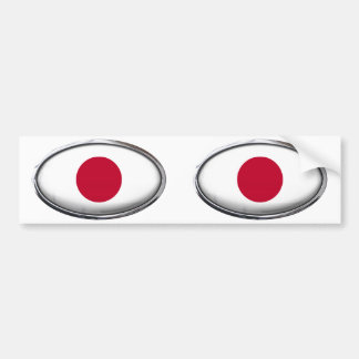 Japan Flag in Glass Oval Bumper Sticker