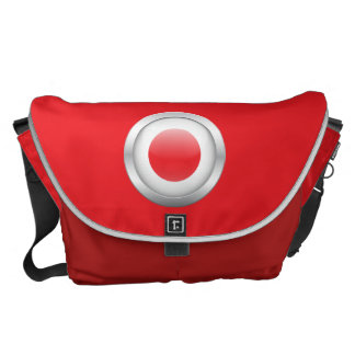Japan Flag in Orb Messenger Bags