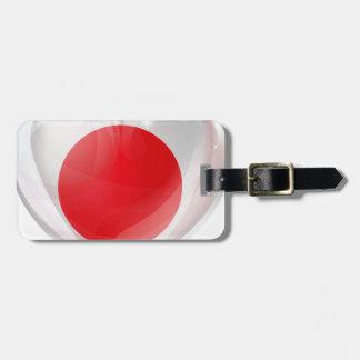 Japan flag love heart bag tag