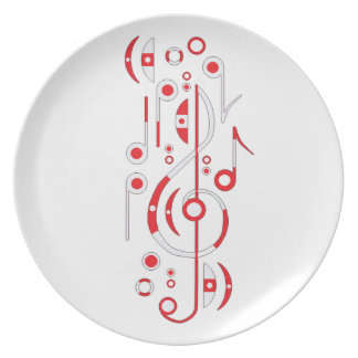Japan Flag Music Notes Dinner Plate