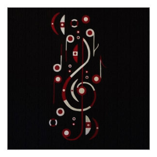 Japan Flag Musical Notes Poster