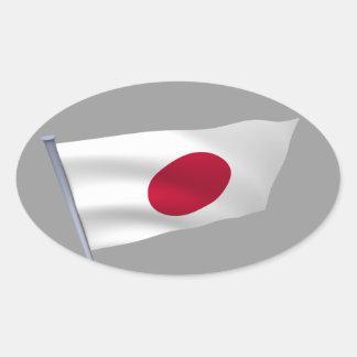 Japan flag on a pole oval stickers