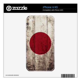 Japan Flag on Old Wood Grain Decals For The iPhone 4