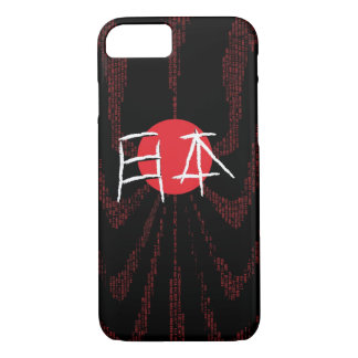 Japan Flag plus Japanese Fonts on Black Background iPhone 8/7 Case
