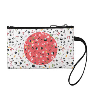 Japan flag with famous icons change purse
