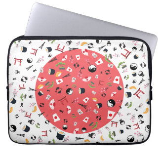 Japan flag with famous icons laptop sleeves