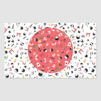 Japan flag with famous icons of Japan Rectangular Sticker
