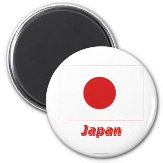 Japan Flag with Name 2 Inch Round Magnet