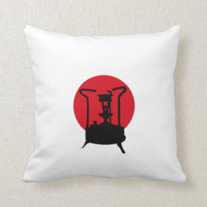 Japan Flag with Pressure stove Throw Pillows
