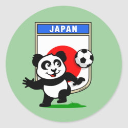 Round Sticker with Japan Football Panda design