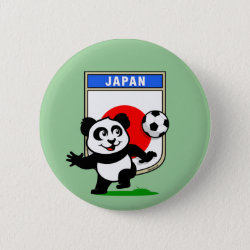 Round Button with Japan Football Panda design