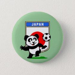 Round Button with Japan Football Panda design
