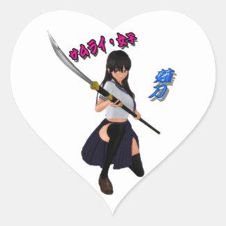 JAPAN/GIRL/LADY/SAMURAI/ANIME/GAME/JAPANESE/KANJI/ HEART STICKER