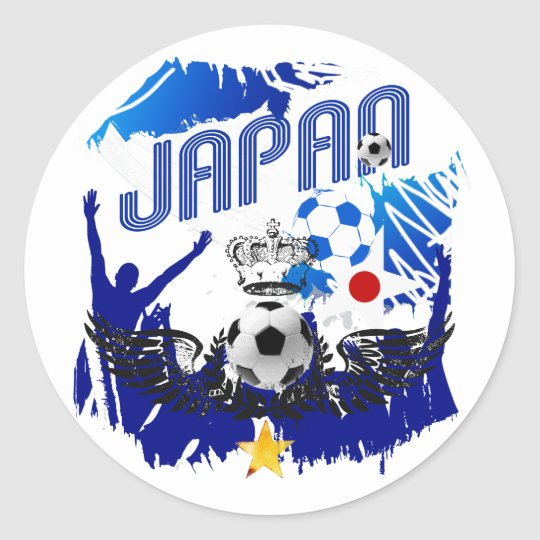 Japan Grunge soccer football celebration Classic Round Sticker