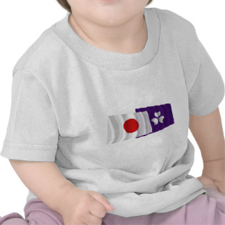 Japan & Gunma Waving Flags T-shirts