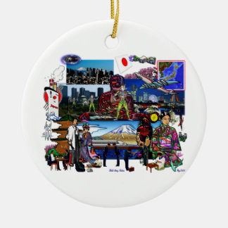 Japan Japanese Archipelago Collage Double-Sided Ceramic Round Christmas Ornament