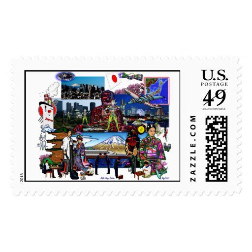 Japan Japanese Archipelago Collage Postage Stamp