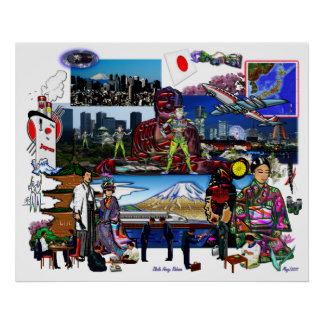 Japan Japanese Archipelago Collage Posters