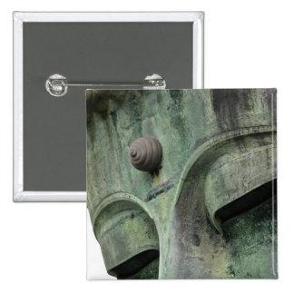 Japan, Kamakura. The Great Buddha of Kamakura, a 2 Inch Square Button