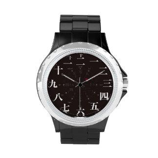 Japan kanji style black face watch