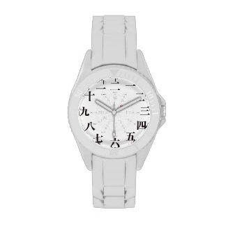 Japan kanji style white face watch