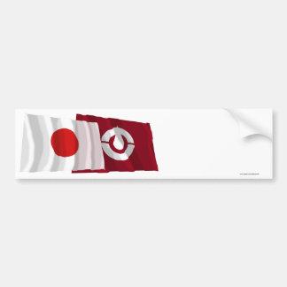 Japan Kochi Waving Flags Bumper Sticker