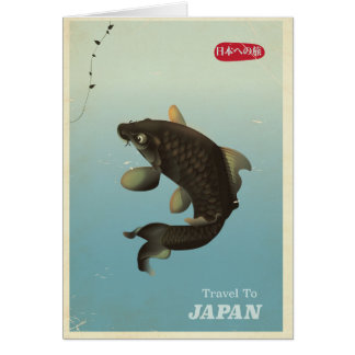 Japan Koi Vintage travel poster Card