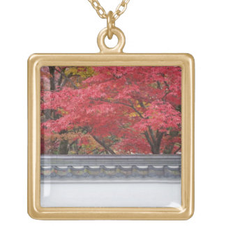Japan, Kyoto, Autumn Color at Eikando Temple Gold Plated Necklace