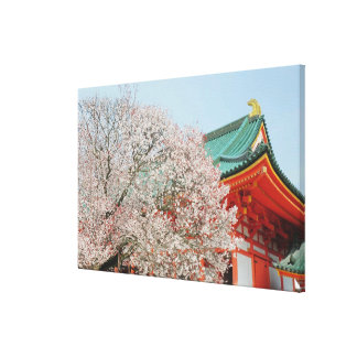 Japan, Kyoto. Cherry blossom of Shinto Canvas Print