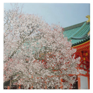 Japan, Kyoto. Cherry blossom of Shinto Ceramic Tile